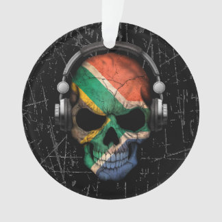 Scratched South African Dj Skull with Headphones