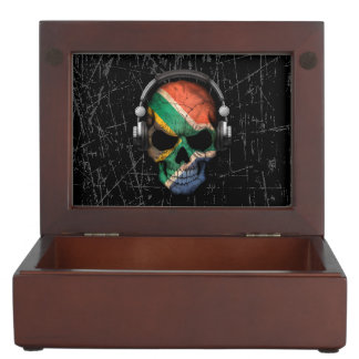 Scratched South African Dj Skull with Headphones Memory Box