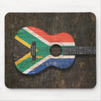 Scratched South African Flag Acoustic Guitar Mouse Pad