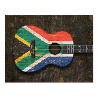 Scratched South African Flag Acoustic Guitar Postcard