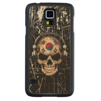 Scratched South Korean Dj Skull with Headphones Carved Maple Galaxy S5 Case