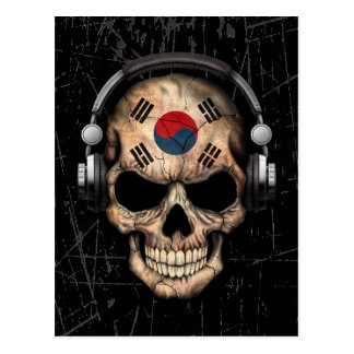 Scratched South Korean Dj Skull with Headphones Postcard