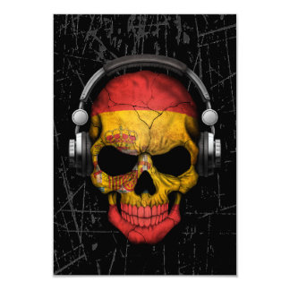 Scratched Spanish Dj Skull with Headphones Custom Invitation Cards