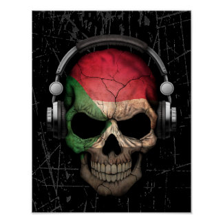 Scratched Sudanese Dj Skull with Headphones Poster