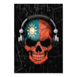 Scratched Taiwanese Dj Skull with Headphones 3.5x5 Paper Invitation Card