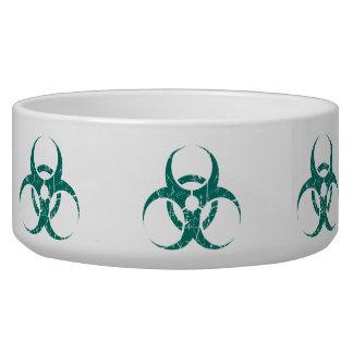 Scratched Teal Blue Biohazard Symbol Dog Food Bowls