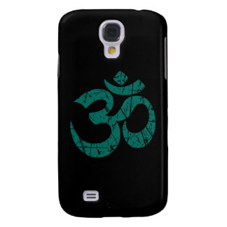 Scratched Teal Blue Yoga Om Symbol on Black Samsung Galaxy S4 Cover