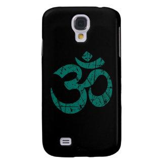 Scratched Teal Blue Yoga Om Symbol on Black Samsung S4 Case