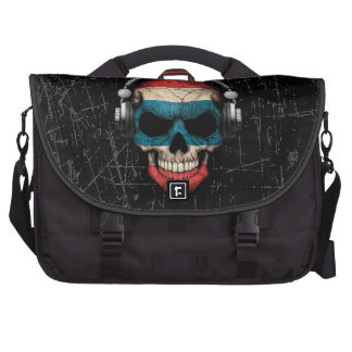 Scratched Thai Dj Skull with Headphones Laptop Bags