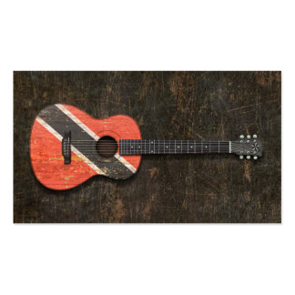 Scratched Trinidad and Tobago Flag Acoustic Guitar Business Card