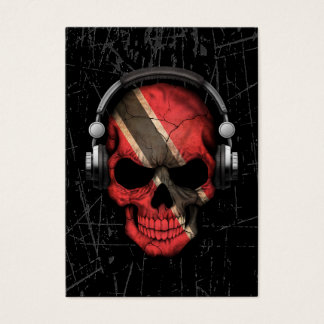Scratched Trinidadian Dj Skull with Headphones Business Card