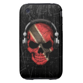 Scratched Trinidadian Dj Skull with Headphones iPhone 3 Tough Cases