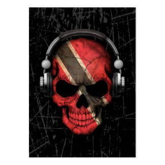 Scratched Trinidadian Dj Skull with Headphones Large Business Cards (Pack Of 100)