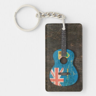 Scratched Turks and Caicos Flag Acoustic Guitar Keychain