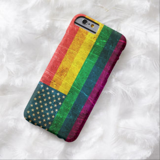 Scratched Vintage Gay Pride American Rainbow Flag Barely There iPhone 6 Case