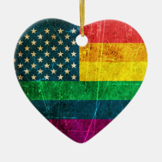 Scratched Vintage Gay Pride American Rainbow Flag Ceramic Ornament