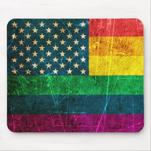 Scratched Vintage Gay Pride American Rainbow Flag Mousepads