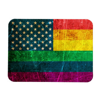 Scratched Vintage Gay Pride American Rainbow Flag Rectangular Photo Magnet
