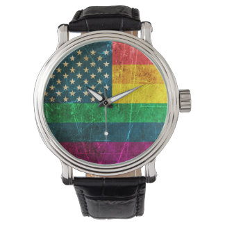 Scratched Vintage Gay Pride American Rainbow Flag Wrist Watches