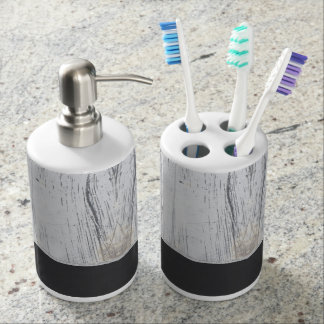 Scratched White Paint Plaster Charcoal Grey Line Soap Dispenser & Toothbrush Holder