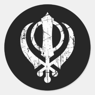 Scratched White Sikh Khanda Symbol on Black Classic Round Sticker