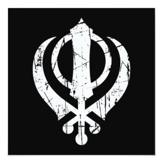 "Scratched White Sikh Khanda Symbol on Black 5.25"" Square Invitation Card"