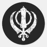 Scratched White Sikh Khanda Symbol on Black Round Sticker