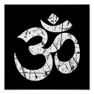 Scratched White Yoga Om Symbol on Black Posters
