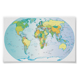 Scratched World map Posters