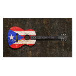 Scratched Worn Puerto Rico Flag Acoustic Guitar Business Cards
