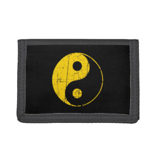 Scratched Yellow and Black Vintage Yin Yang Trifold Wallets