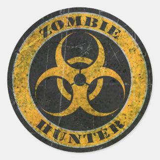 Scratched Yellow Bio Hazard Zombie Hunter Classic Round Sticker