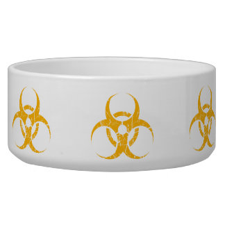 Scratched Yellow Biohazard Symbol Dog Food Bowl
