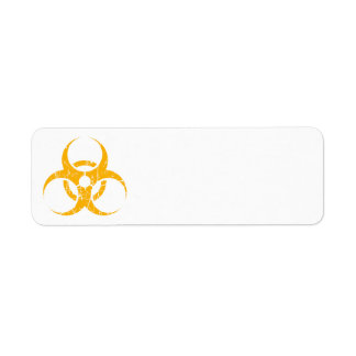 Scratched Yellow Biohazard Symbol Return Address Labels