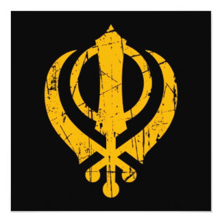 "Scratched Yellow Sikh Khanda Symbol on Black 5.25"" Square Invitation Card"