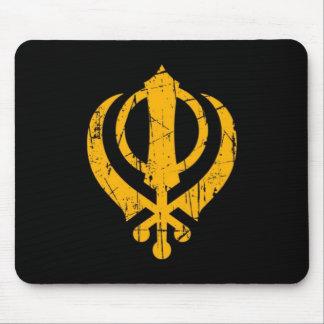 Scratched Yellow Sikh Khanda Symbol on Black Mouse Pad