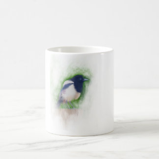Scratchy Painting of a Scruffy Magpie Coffee Mug