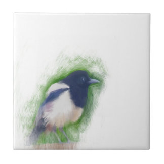 Scratchy Painting of a Scruffy Magpie Tiles