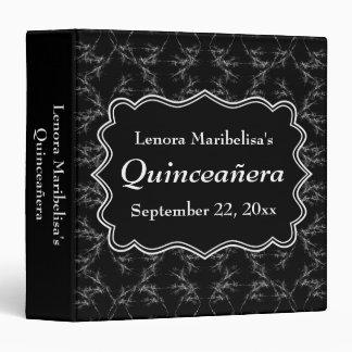Scratchy Pattern Print Black White Quinceanera 3 Ring Binder