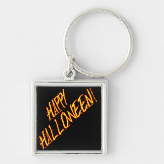 Scratchy Yellow Red Halloween Text Image Key Chains