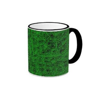 Scrawl green design coffee mugs