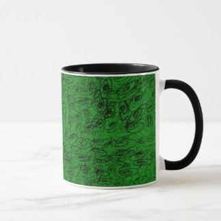 Scrawl green design mug