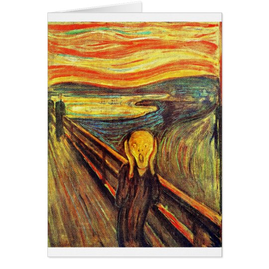 Scream by Munch ~ screaming man w red orange sky Card