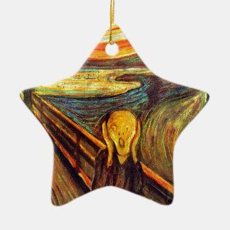 Scream by Munch ~ screaming man w red orange sky Ceramic Ornament