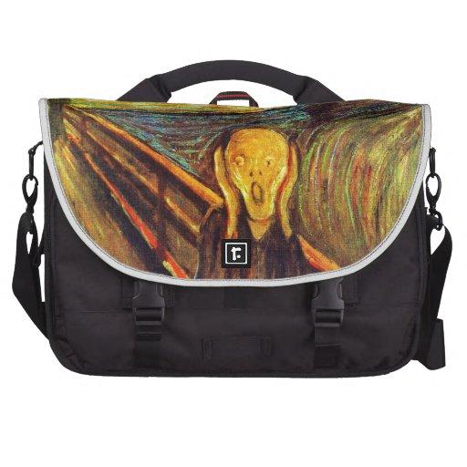 Scream by Munch ~ screaming man w red orange sky Computer Bag