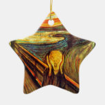 Scream by Munch ~ screaming man w red orange sky Double-Sided Star Ceramic Christmas Ornament