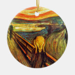 Scream by Munch ~ screaming man w red orange sky Double-Sided Ceramic Round Christmas Ornament