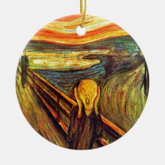 Scream by Munch ~ screaming man w red orange sky Ornaments