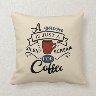 Scream for Coffee Word Art Pillow