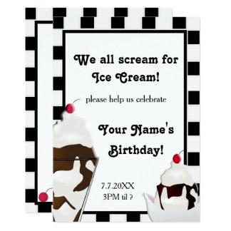 Scream for Ice Cream Birthday Party Invite